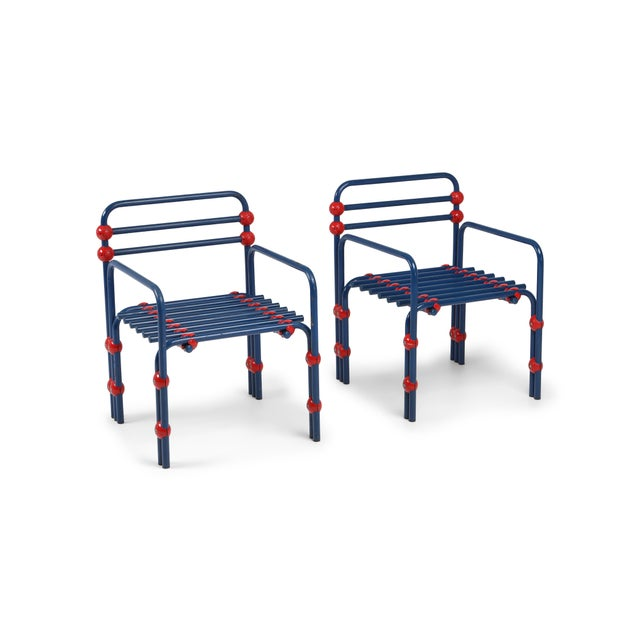 Blue Italian Postmodern Pair of Armchairs in Red and Blue For Sale - Image 8 of 8