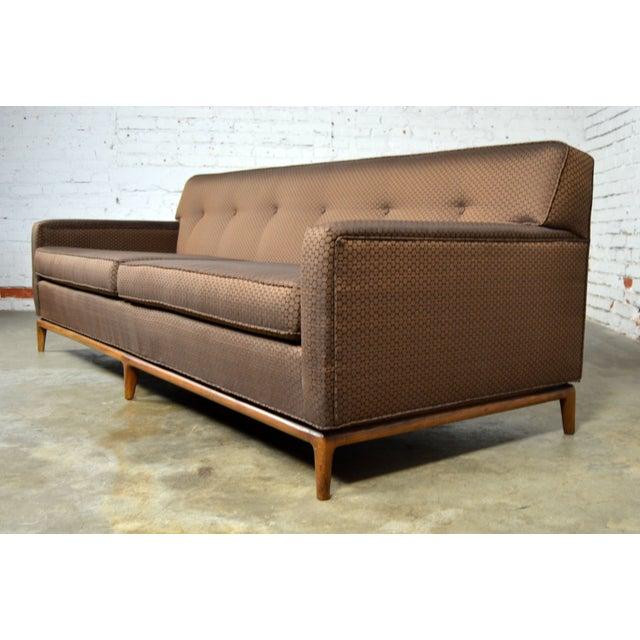 Mid-Century Tufted Tuxedo Sofa on Walnut Base - Image 5 of 10