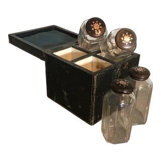 19th Century Belle Epoque Tortoise Shell and Sterling Silver Inlaid Cosmetics Jars and Travel Box - 5 Pieces For Sale
