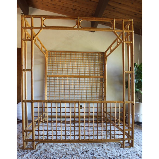 Vintage Queen Rattan and Bamboo Chippendale Chinoiserie Canopy Bed - Image 7 of 11