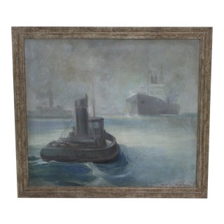 1930's Oil on Canvas Painting Tug & Ships by D N Dietrichson For Sale