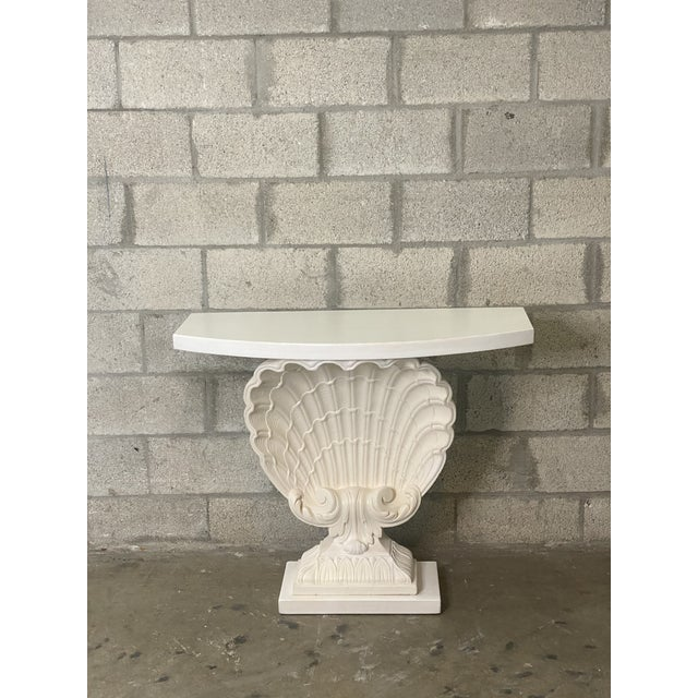 Grosfeld House Vintage Coastal Grosfeld House Clamshell Console Table For Sale - Image 4 of 5
