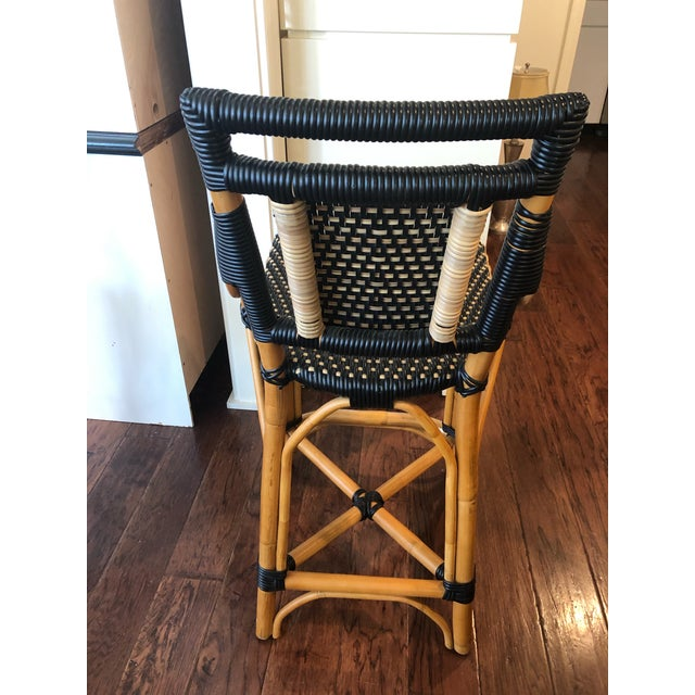Palecek Palecek Bistro Style Rattan & Wicker Counter Stools -A Pair For Sale - Image 4 of 10