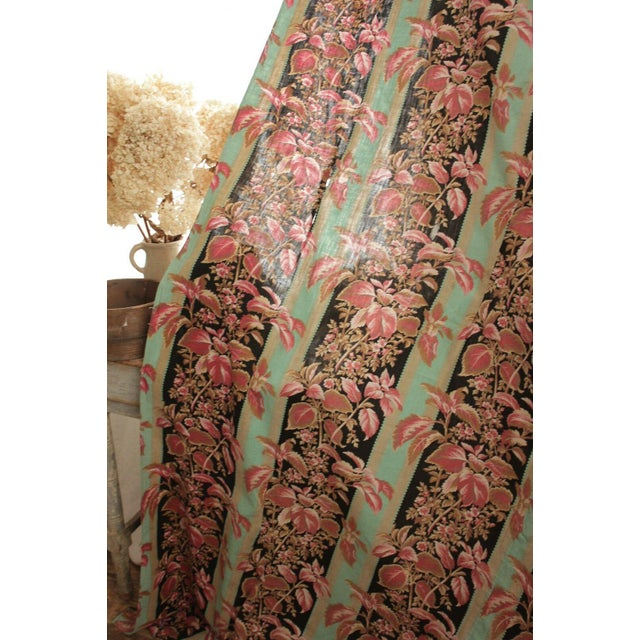 Late 19th Century Fabric Antique French Black & Teal Stripes W/ Red Pink Florals 1880 Belle Epoque For Sale - Image 5 of 11
