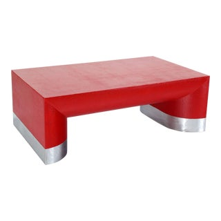 Large Rectangle Grass Cloth Mid-Century Modern Coffee Table in Fire Red For Sale