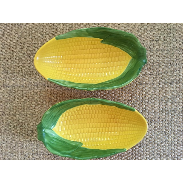 This is a whimsical pair of ceramic, hand-painted ears of corn shaped serving bowls. The pieces are from the 1960s. Bright...