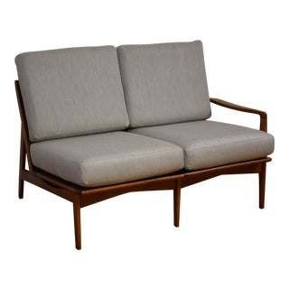 Mid-Century Modern Grey Loveseat For Sale