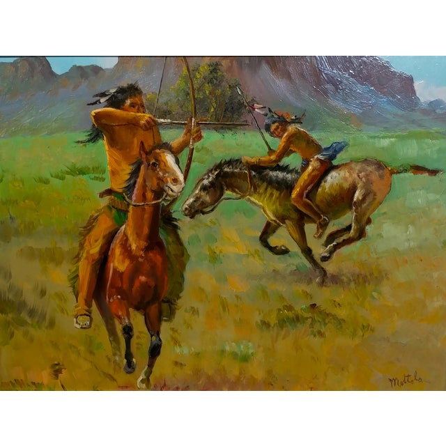 Country Native American Indians on Horse Oil Painting by Filastro Mottola For Sale - Image 3 of 9