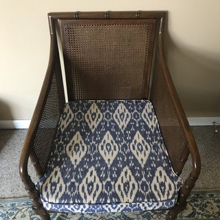 Mid-Century Faux Bamboo Cane With Blue Ikat Seat Armchair Preview