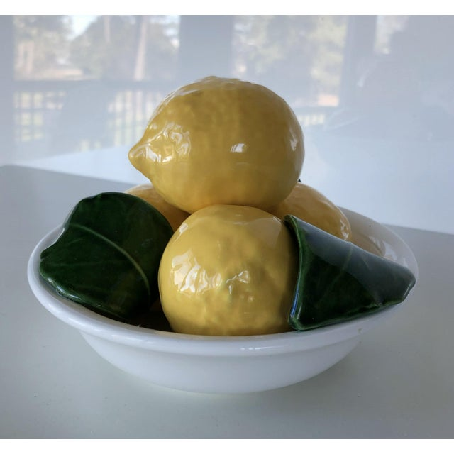Vintage Trompe l'Oeil Bertinazzo Italy Ceramic Bowl of Lemons With Leaves For Sale - Image 9 of 12