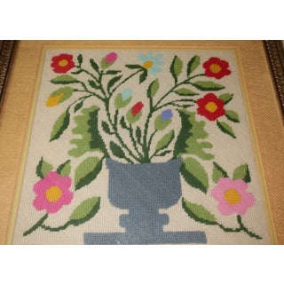 Vintage Floral Needlepoint in Frame Preview