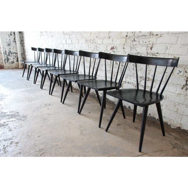 Contemporary Set of Eight Paul McCobb Ebonized Planner Group Dining Chairs For Sale - Image 3 of 13