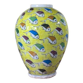Vintage Yellow Hand-Painted Ceramic Fish Vase For Sale