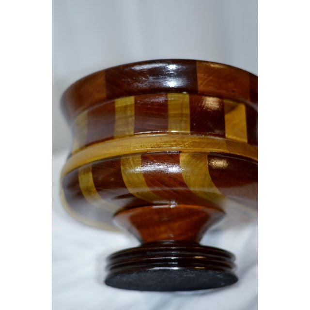Wood Contemporary Wooden Pedestal Bowl For Sale - Image 7 of 9