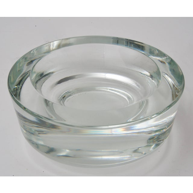 Modern Karl Springer Signed for Venini Clear Murano Glass Dish Bowl For Sale - Image 3 of 7