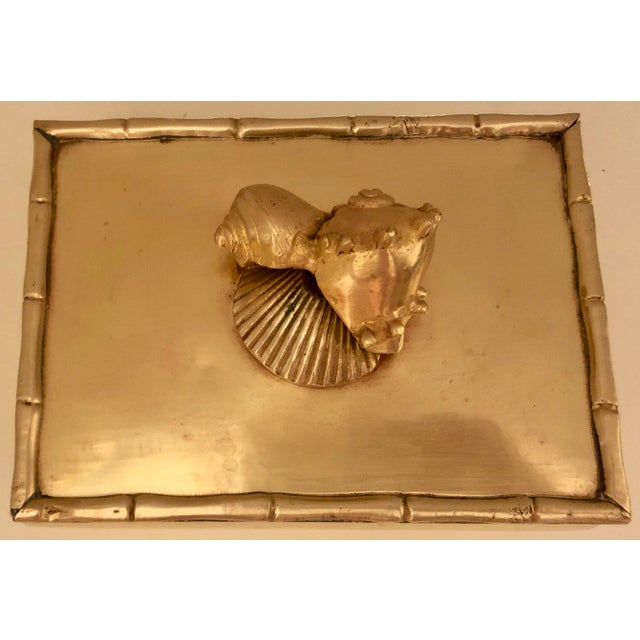 Brass Box With Shells Decor For Sale In Miami - Image 6 of 7