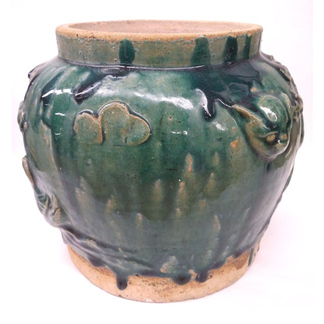 Asian Style Heavy Clay Drip Glaze Teal Planter - Image 6 of 7