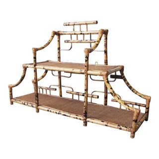 1960s Chinoiserie Pagoda Style Bamboo Wall Mounted Etagere For Sale