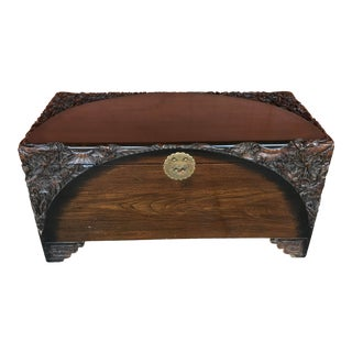 Asian Carved Camphor Chest For Sale