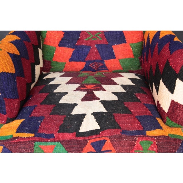 Kilim Upholstered Armchair For Sale - Image 4 of 7