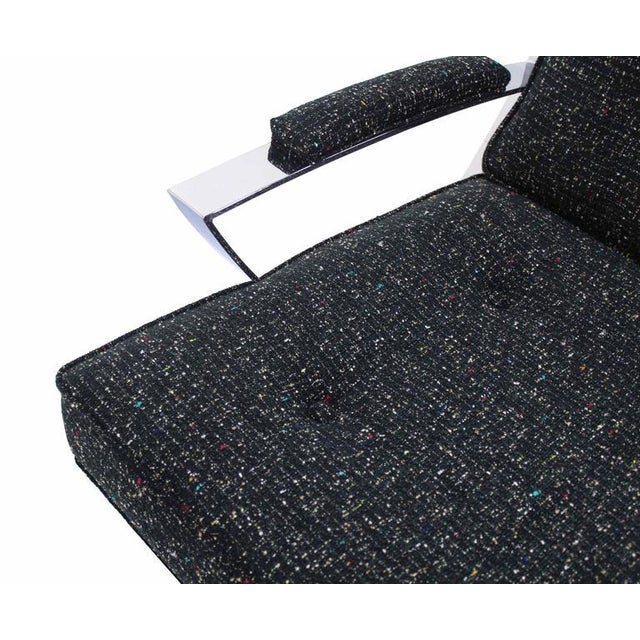 Scissor X-Base Chrome Lounge Chair with New Upholstery For Sale - Image 4 of 9