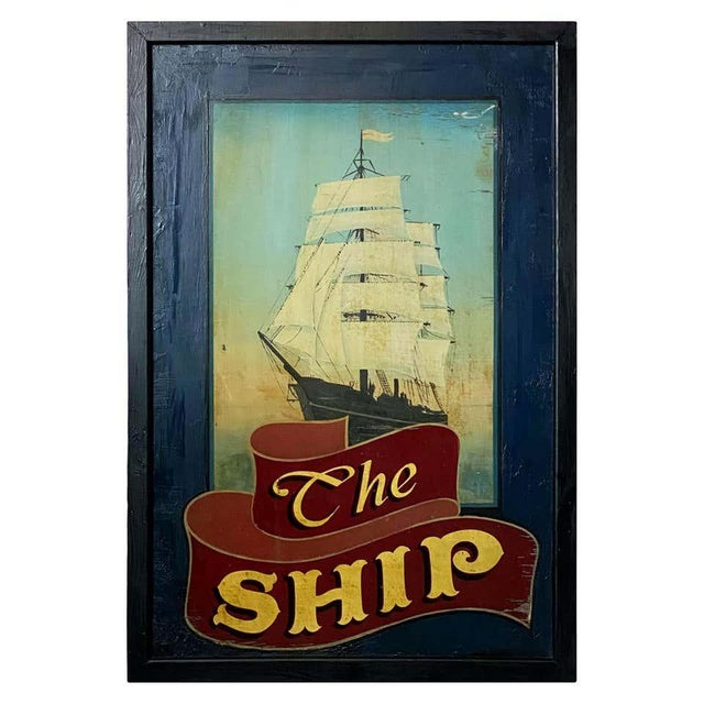 """Vintage English Pub Sign, """"The Ship"""" For Sale - Image 13 of 13"""
