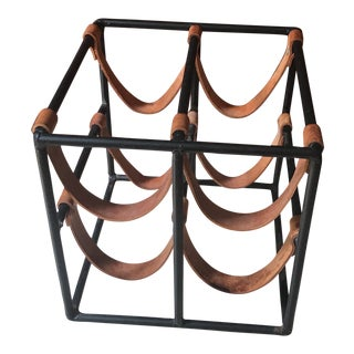 1980s Contemporary Arthur Umanoff Style Leather and Metal Wine Rack