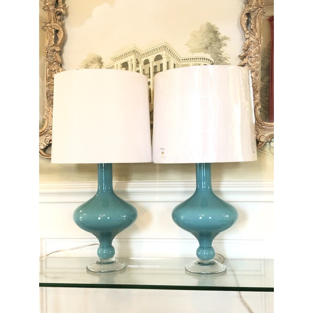 Arteriors Rory Lamps With Silk Shades - a Pair For Sale - Image 9 of 9