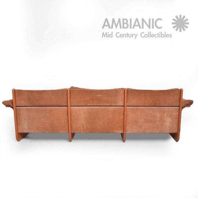 Danish Modern Suede & Teak Sofa For Sale - Image 4 of 8