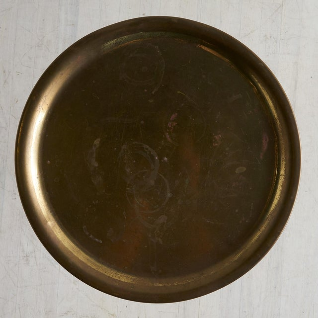 Mid 20th Century Brass Tripod Table With Arrow Motif Attributed to Maison Jansen For Sale - Image 5 of 7