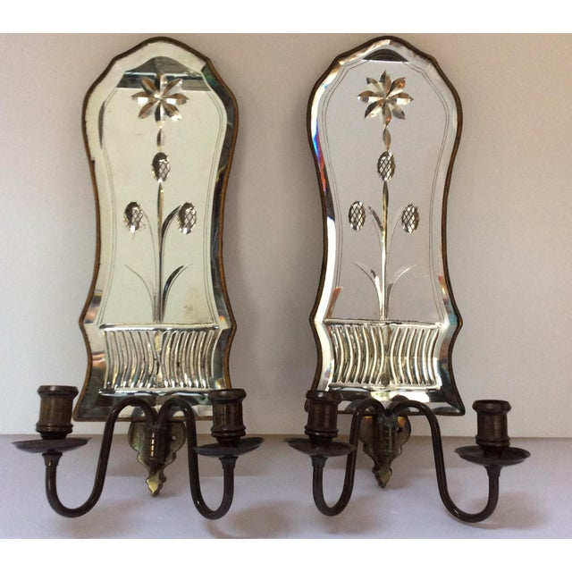 Cut Glass Mirrored Sconces - A Pair - Image 2 of 9