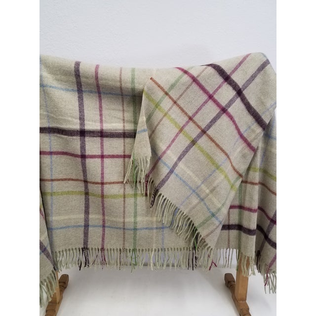 Wool Throw Multi Color Stripes on Beige Background - Made in England For Sale - Image 4 of 12