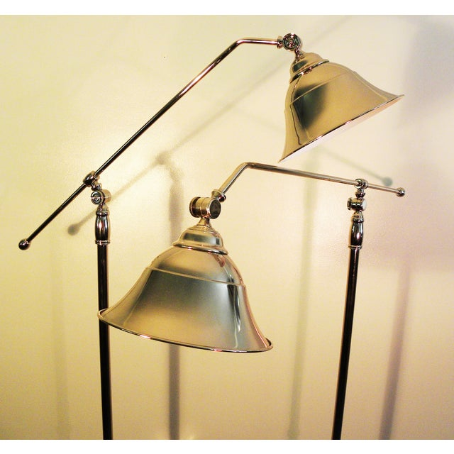 Vintage Swing-Arm Chrome Floor Lamps - A Pair - Image 3 of 9
