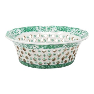 Vintage Reticulated Green and White Ceramic Chestnut Basket For Sale