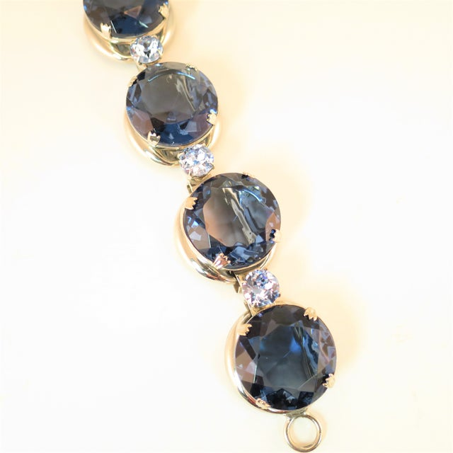 Mid-Century Modern German Oversize Sapphire Headlamp Crystal Bracelet 1950s For Sale - Image 3 of 12