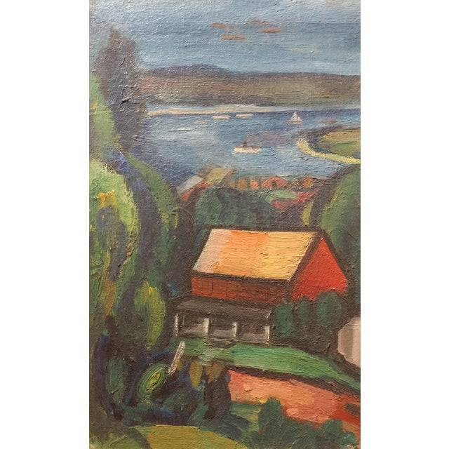 Jean Liberte - Picturesque Village Over a Lake Landscape Original Oil Painting For Sale - Image 4 of 11