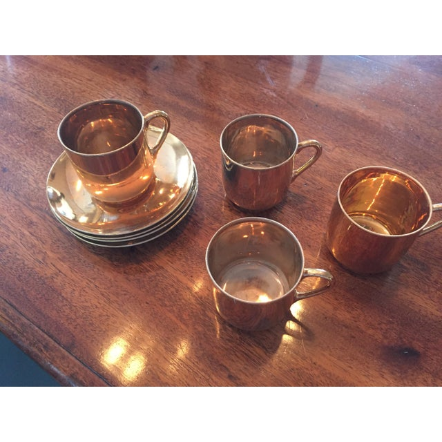 Asian Copper Japanese Tea - Set of 4 For Sale - Image 3 of 5