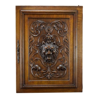 Late 19th Century Lion Hand Carved Walnut Wood Door Panel For Sale