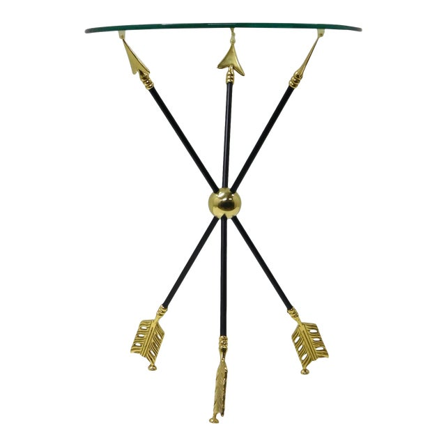 Vintage Iron & Brass Arrow Bouillotte Drinks Lamp Table For Sale