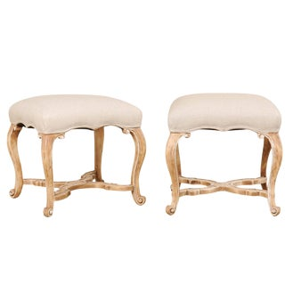 Vintage Mid Century Carved Wood and Upholstered Stools- A Pair For Sale