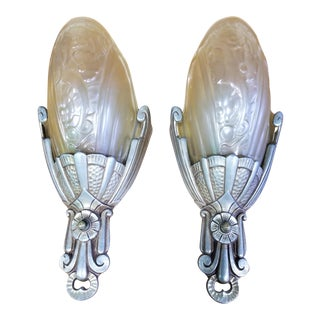 Art Deco Slip Shade Wall Sconces - a Pair For Sale
