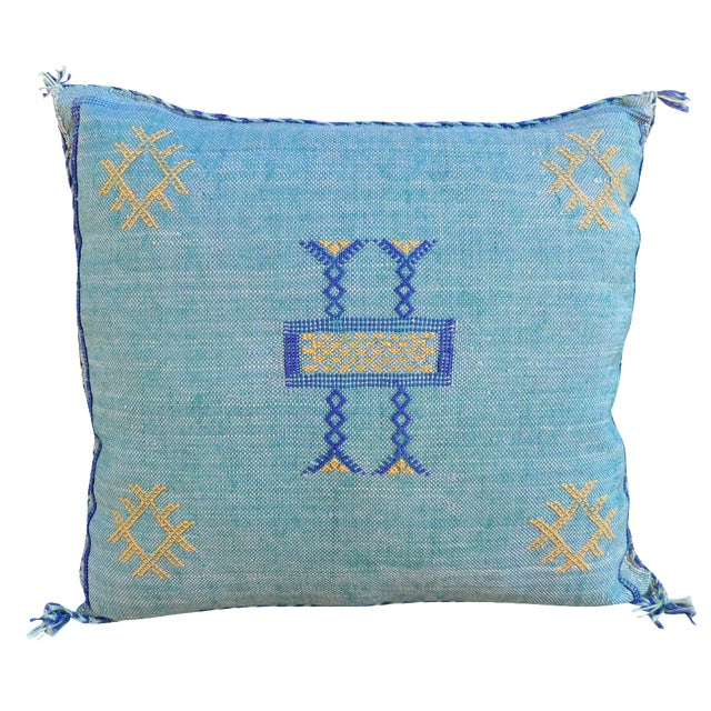 Moroccan Sabra Cactus Blue Silk Pillow - Image 1 of 3