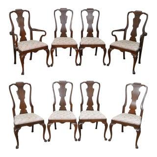 Henredon 18th Century Portfolio Set of 8 Queen Anne Georgian Mahogany Dining Chairs