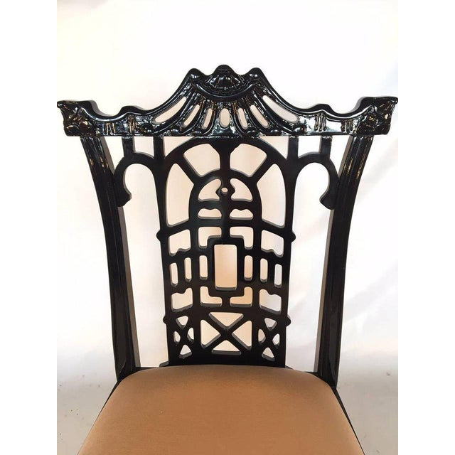 Set of 4 Black Lacquer Asian Chinoiserie Pagoda Dining Chairs For Sale - Image 4 of 9
