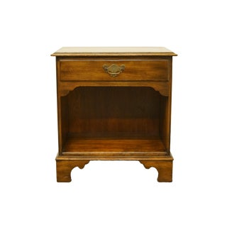 "1970s Traditional Statton Trutype Solid Walnut 24"" Nightstand For Sale"