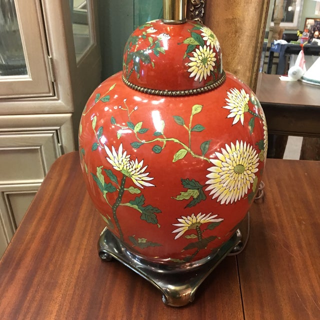 Red East Asian Style Jar Table Lamp - Image 4 of 6