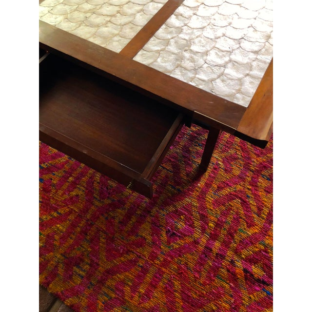 Mid-Century Hollywood Regency Teak and Mother of Pearl Square Coffee Table For Sale In Los Angeles - Image 6 of 11