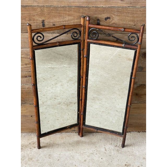 Antique French Bi-Fold Bamboo Mirror For Sale - Image 13 of 13