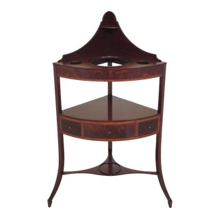 Antique Mahogany 1 Drawer Corner Basin Stand For Sale