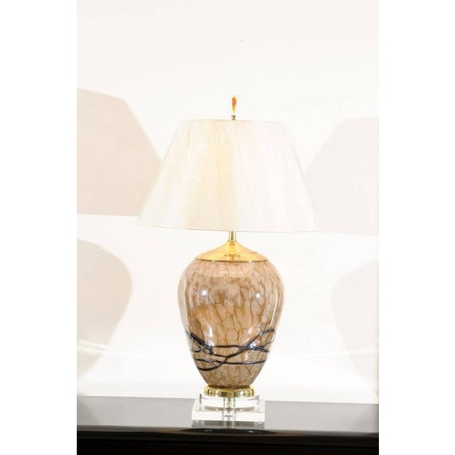 Extraordinary Pair of Eastern European Blown Glass Vessels as Custom Lamps For Sale - Image 10 of 11